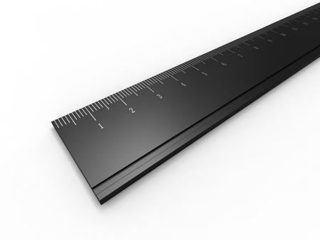 millimeter: Close up render of a black ruler Stock Photo