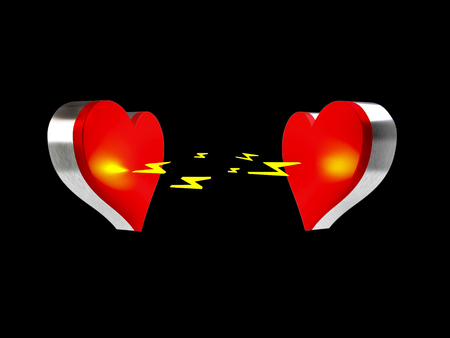 Rendering of two hearts being attracted to eachother on a black background