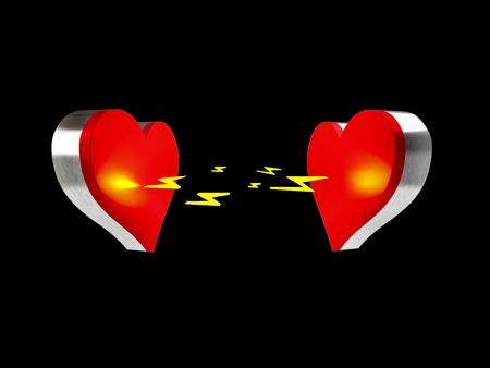 Weergave van twee harten worden aangetrokken door elkaar op een zwarte achtergrond