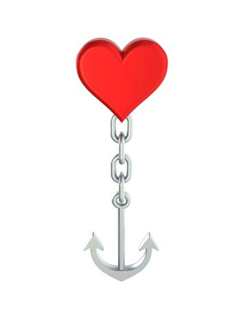 An Anchor connected to a heart symbolizing a sinking relationship, isolated on a white background