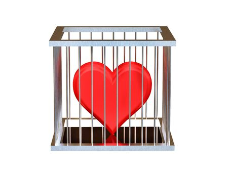 Rendering of red heart  in jail