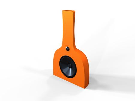 Modern Orange Speaker on a white background Stock Photo