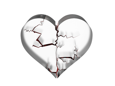 Rendering of shattered heart in glass Foto de archivo