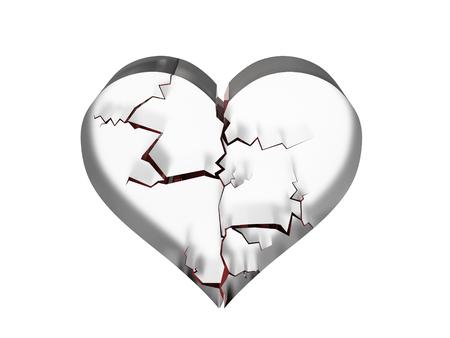 Weergave van verbrijzelde hart in glas