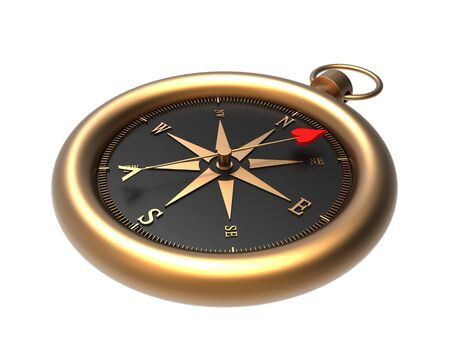 Render of a compass showing the direction to love  isolated on a white background Stock Photo