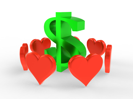 Dollar sign surrounded by red hearts on a white background Stock Photo