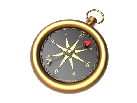 Render of a golden compass showing the direction to love isolated on a white background