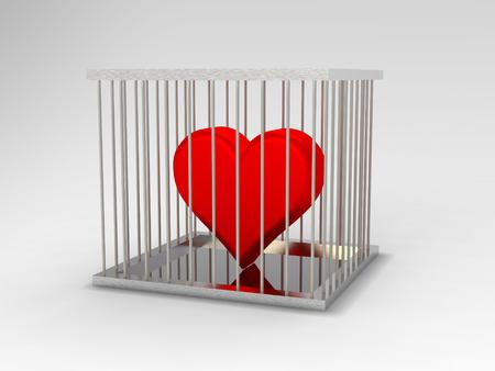 Rendering of red heart  in jail