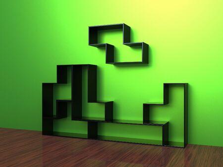 3d render of Tetris Shelf Unit on a green wall