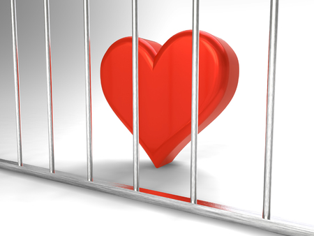 Rendering of heart in prison Stock Photo