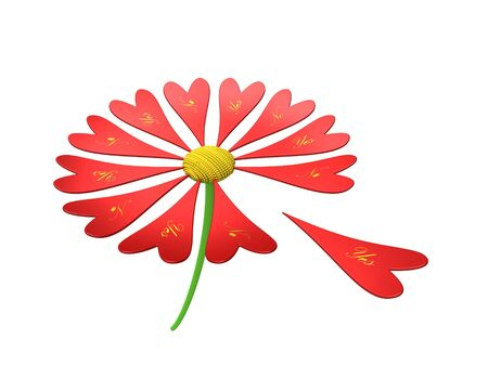 Rendering of red flower with text