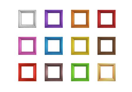 Render of twelve different colored frames