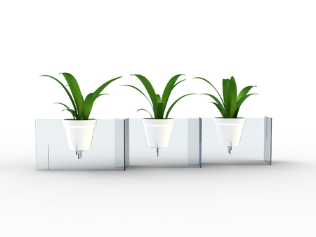 Render of a modern pot stand made of acrylic