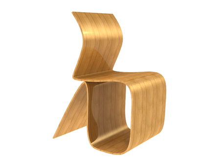 Modern Plywood Chair isolated on a white background Stock Photo
