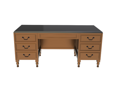 3d Classic colonial desk with turned wood-legs isolated on a white background Stock Photo
