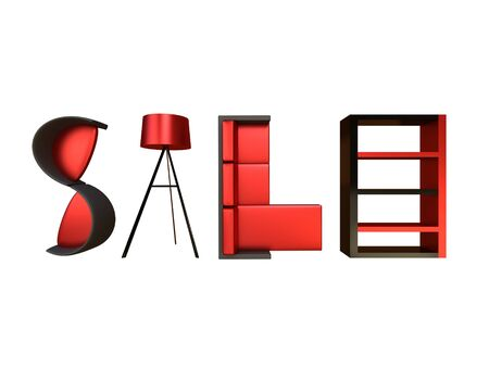 Render of different furniture forming the word sale Stock Photo