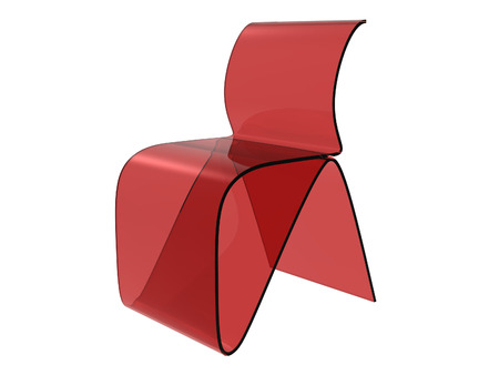 Red Plastic Sheet Chair isolated on a white background