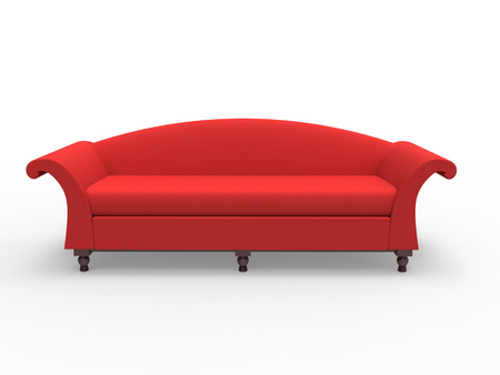 3d rendering of victorian inspired sofa on a white background