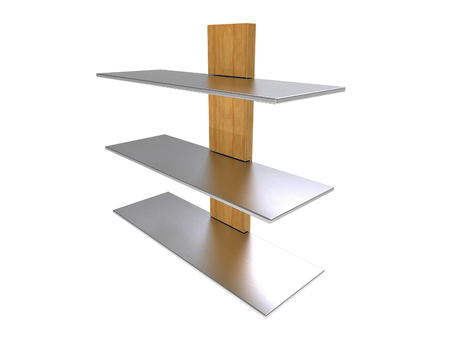Wood Metal Shelf isolated on a white background