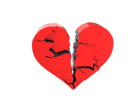 broken love: A cracked heart isolated on a white background Stock Photo