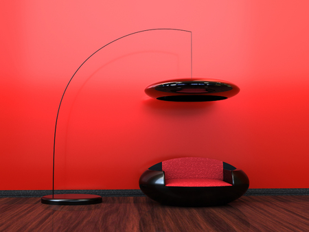 Red modern interior with a futuristic look Stock Photo