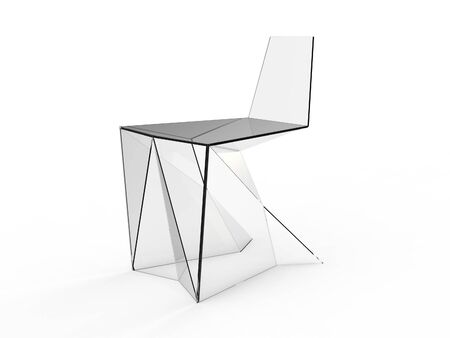 render of Origami concept chair on a white background