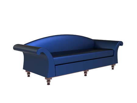 Modern blue sofa isolated on a white backgroound
