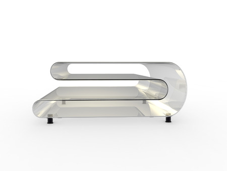 3d Render of a glass table with white background Stock Photo