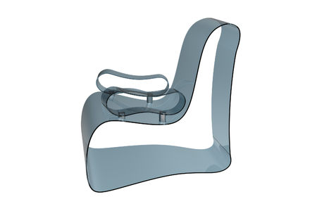 Render of a Modern Acrylic armchair isolated on a white background Stock Photo