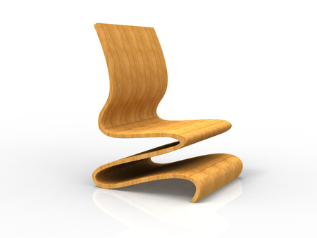 pressing: Render of a Modern Plywood Chair on a white background