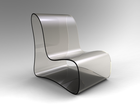 3d rendering of  modern chair made of transparent plastic on a grayish background