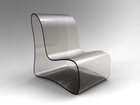 3D-Rendering von modernen Stuhl aus transparentem Kunststoff auf einem grauen Hintergrund Standard-Bild - 81096923