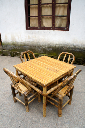 Chinese Bamboo Furniture Set in a temple Stock Photo