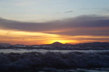 picture taken low of Sunset Waves