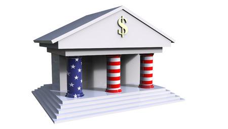 Amerikaanse Bank die 3d illustratie met de kleuren van de Amerikaanse vlag bouwt die op een witte achtergrond wordt geïsoleerd Stockfoto