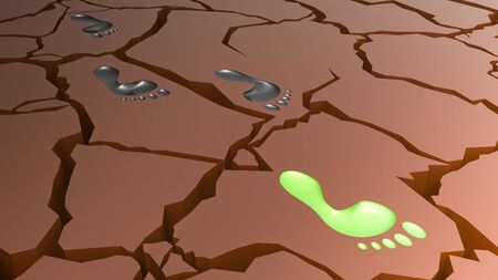 Taking a step for sustainability on Eroded cracked Earth concept 3d illustration Banco de Imagens
