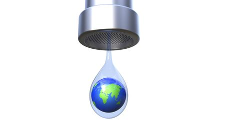 Save the earths water 3d illustration concept on a white background