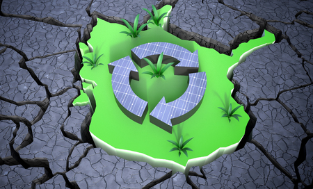 Solar Panels creating green sustainabile growth 3d Illustration Concept Banco de Imagens