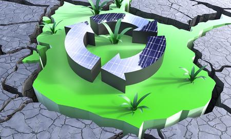 Solar Panels creating green sustainabile growth in desert 3d Illustration Concept