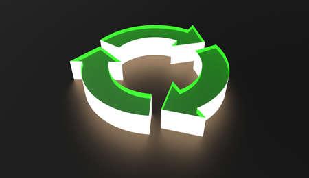 Green Recycle Symbol Illuminating in dark 3d Illustration