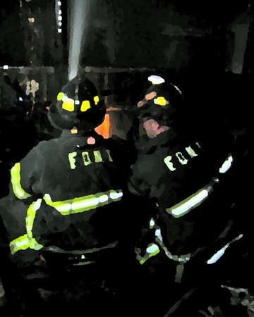 An artistic rendering of fire fighters operating a hose line in a basement fire.