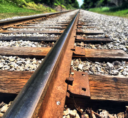 distance: Train tracks leading off into the distance