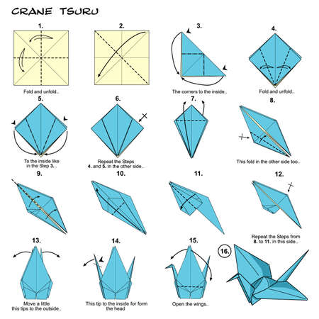 Origami paper crane diagram Stockfoto