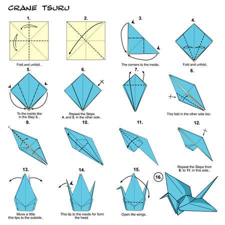 Origami paper crane diagram Banco de Imagens