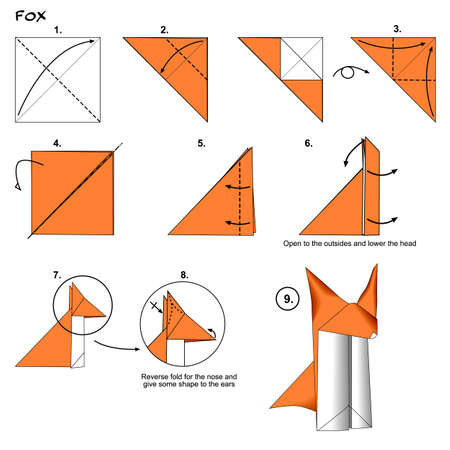 Origami animal fox diagram instructions