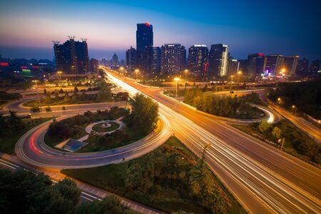 night dusk: Sanyuan bridge at night Editorial
