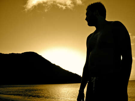 Male Silhouette Beach Stock Photo - 19637932