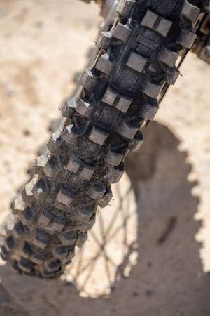 close up image of a motorcross bike tire Stockfoto