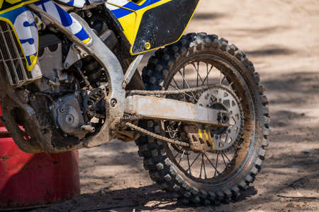 close up image of the drive train of a motorcross bike