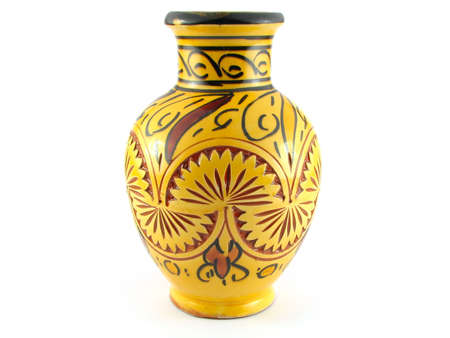 Isolation of a vase with an arabic style on a white background